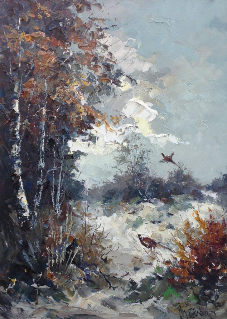 Schilderijen te koop van kunstschilder John Bevort Fazanten aan de bosrand olie op doek, 80 x 60 cm, Expositie Galerie Wijdemeren Breukeleveen