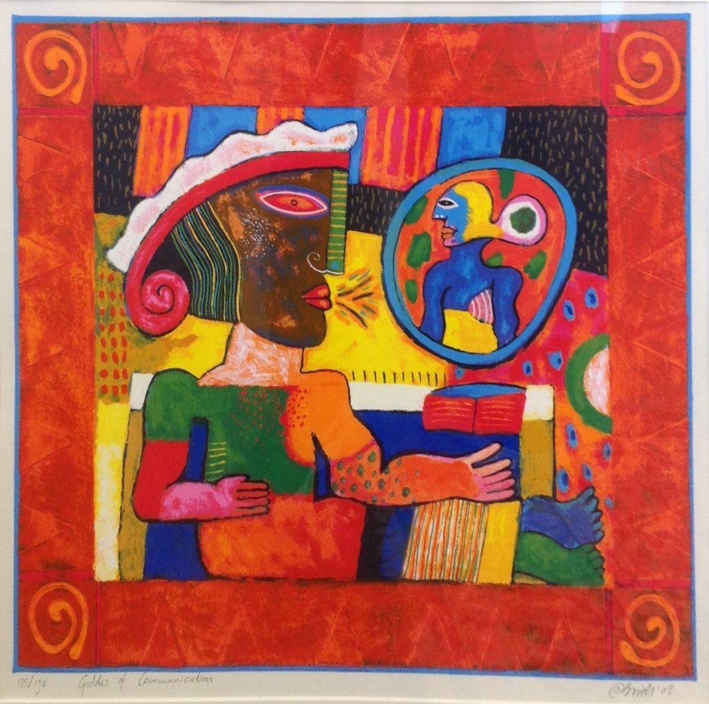 Schilderijen te koop van kunstschilder Clemens Briels zeefdruk, beeldmaat 45 x 49 cm Goddes of communication rechtsonder gesigneerd gedateerd '02, oplage 135/190, Expositie Galerie Wijdemeren Breukeleveen