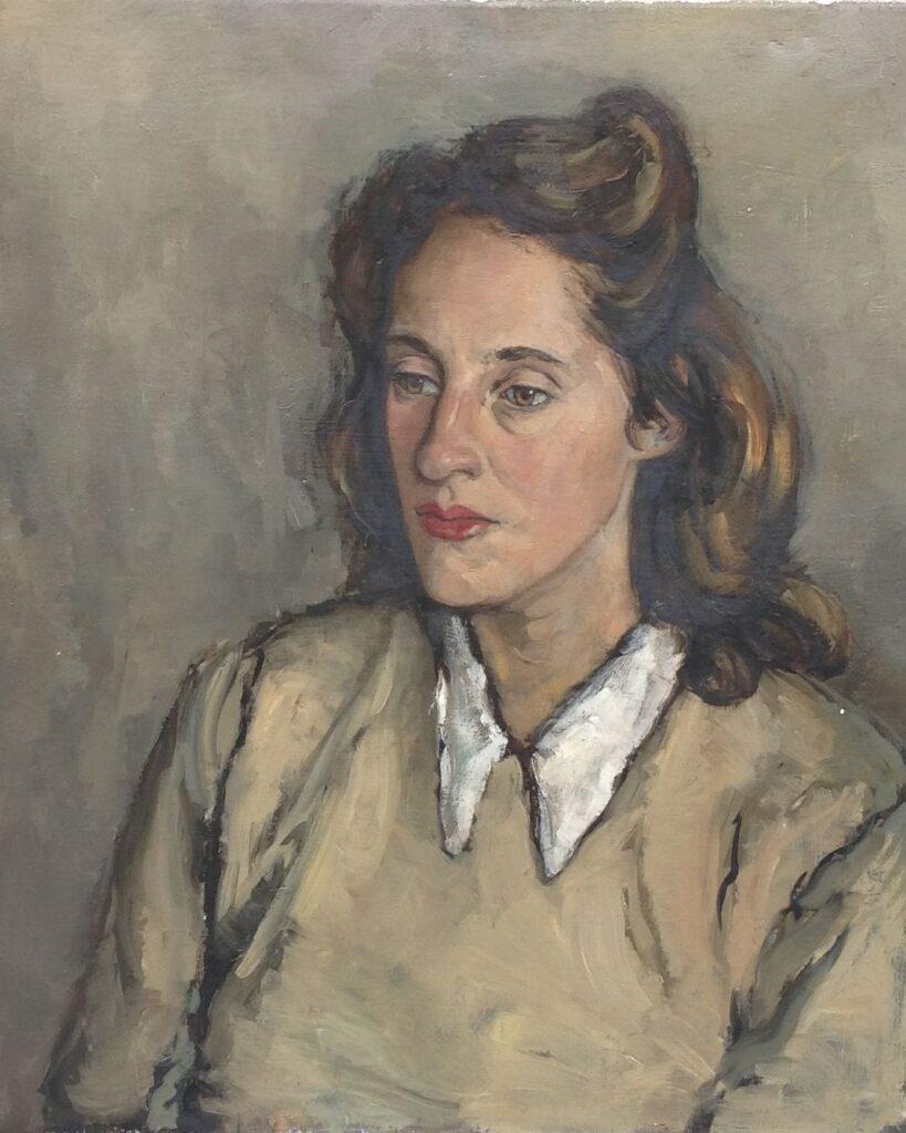 Kunstenaar Leni Rienks C1236, Leni Rienks Portret van een dame olie op doek, 60 x 50 cm, verso gesigneerd