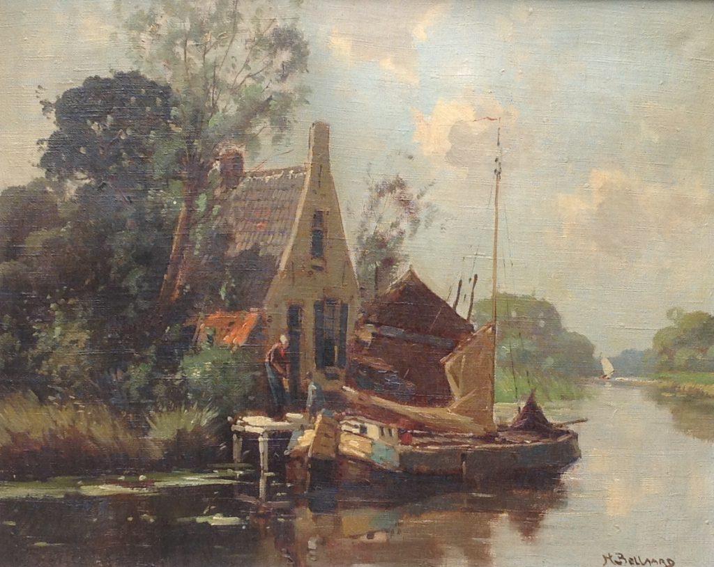 Kunstenaar Henderik Johannes Bellaard C1237 H.J. Bellaard Aanmeren Olie op doek, doekmaat 40,5 x 50 cm rechtsonder gesigneerd verkocht
