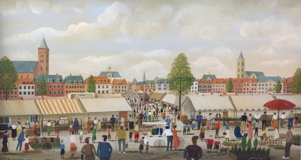Schilderijen te koop van kunstschilder Jaap ter Haar Marktgezicht olie op doek, 50 x 90 cm r.o. gesigneerd, Expositie Galerie Wijdemeren Breukeleveen