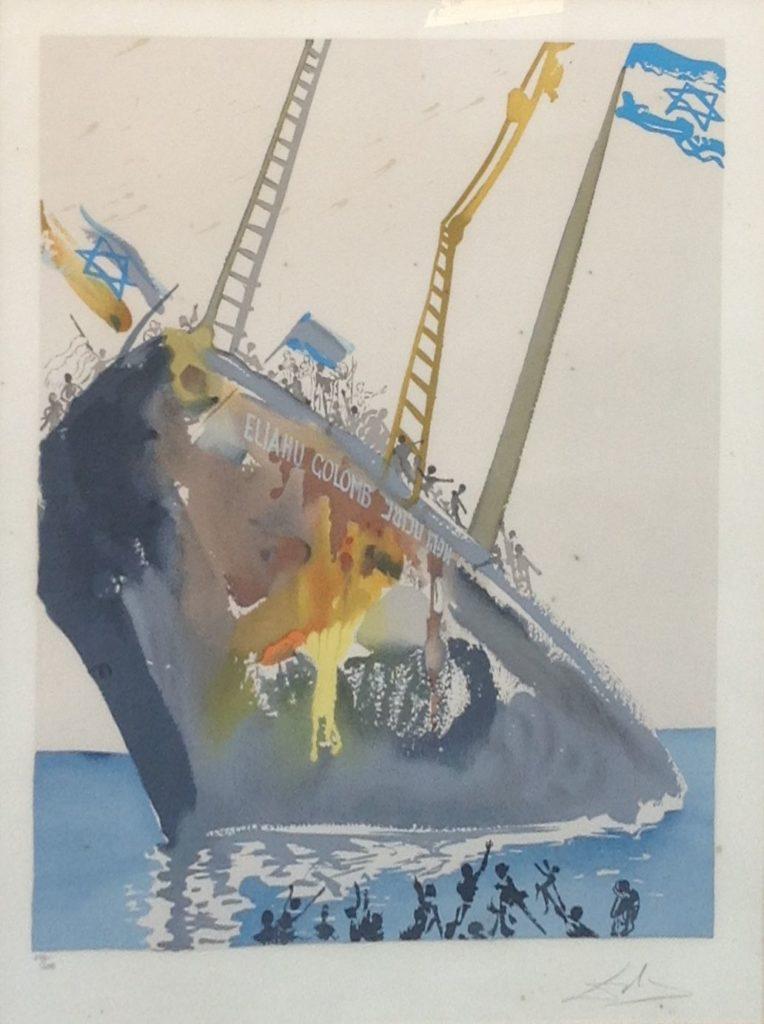Schilderijen te koop van kunstschilder Salvador Dali On the Shores of Freedom handgesigneerde en genummerde lithografie oplage: 240/250, beeldmaat 59 x 46 cm., Expositie Galerie Wijdemeren Breukeleveen