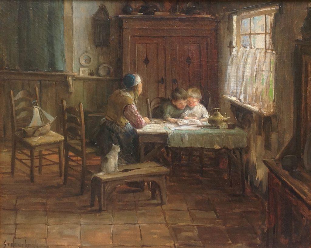 Schilderijen te koop van kunstschilder C.A. Streefkerk genrestuk olie op doek, doekmaat 40 x 50 cm linksonder gesigneerd, Expositie Galerie Wijdemeren Breukeleveen