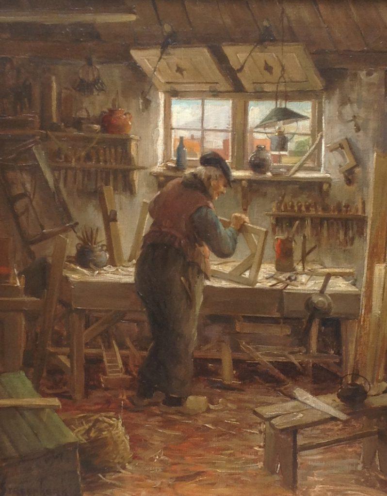 Schilderijen te koop van kunstschilder C.A. Streefkerk Timmerman in zijn werkplaats olie op doek, doekmaat 50 x 40 cm linksonder gesigneerd, Expositie Galerie Wijdemeren Breukeleveen