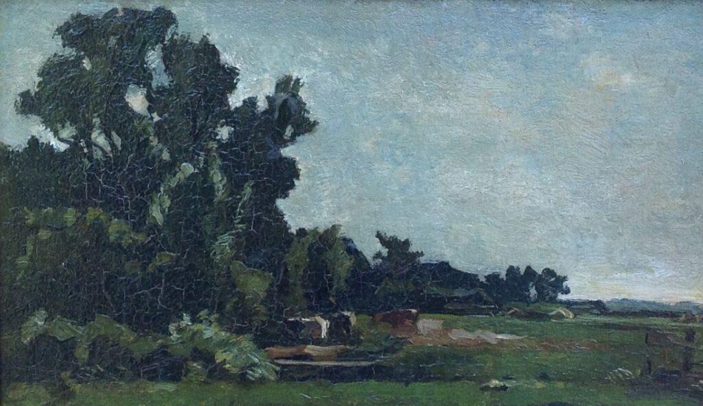Schilderijen te koop van kunstschilder Willem de Zwart koeien in boerenlandschap maroufle, 23 x 37 cm r.o. gesigneerd, Expositie Galerie Wijdemeren Breukeleveen