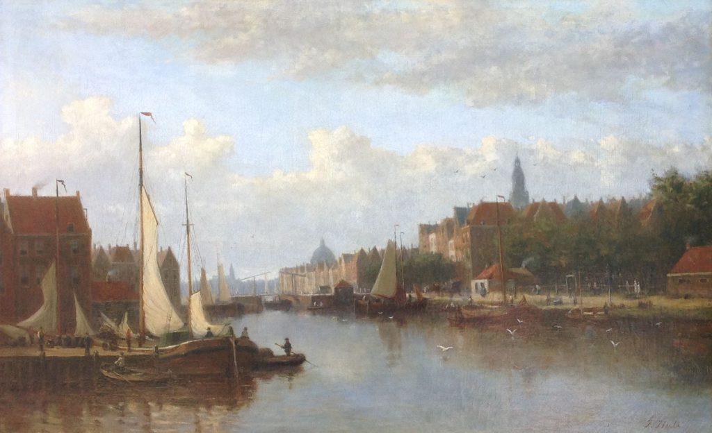 Schilderijen te koop, kunstschilder J.F. Hulk Sr. Hollandse Stadshaven olie op doek, 61 x 96 cm r.o. gesigneerd, Expositie Galerie Wijdemeren Breukeleveen