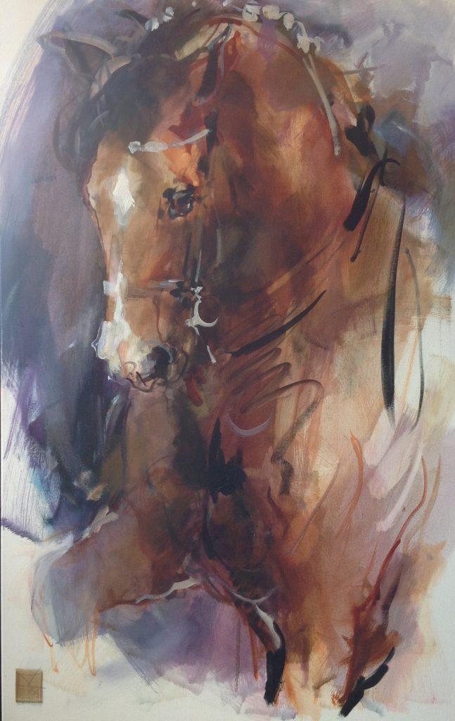 Schilderijen te koop van kunstschilderMarli Hommel Paardenportret olie op doek, gedateerd 2004, Expositie Galerie Wijdemeren Breukeleveen