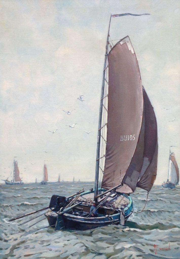 Kunst te koop bij Galerie Wijdemeren van Klaas Zwaan Botter op zee olie op doek, 101 x 71 cm rechtsonder gesigneerd