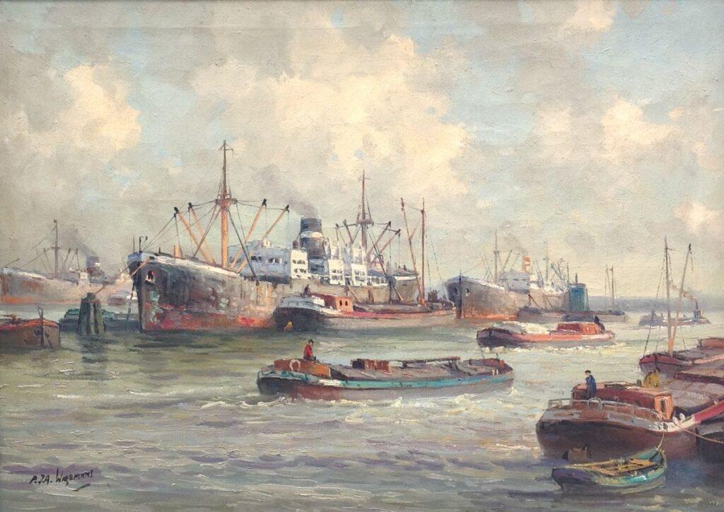 Schilderijen te koop van kunstschilder P.J.A. Wagemans Havengezicht olie op doek, doekmaat 50 x 70 cm linksonder gesigneerd, Expositie Galerie Wijdemeren Breukeleveen