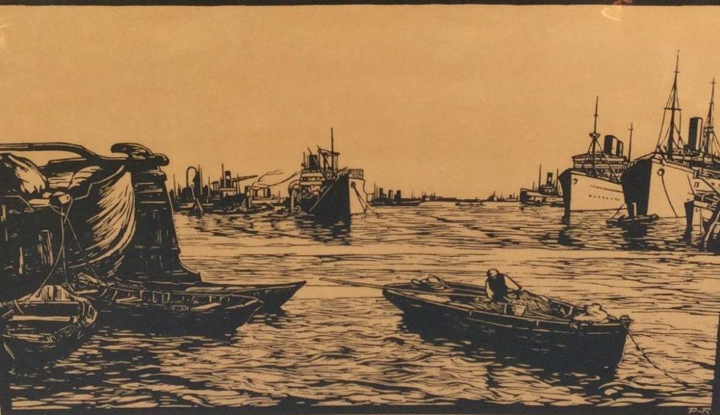 Schilderijen te koop, kunstschilder Piet Rackwitz Havengezicht linosnede, beeldmaat 30 x 45 cm ro handgesigneerd, Expositie Galerie Wijdemeren Breukeleveen