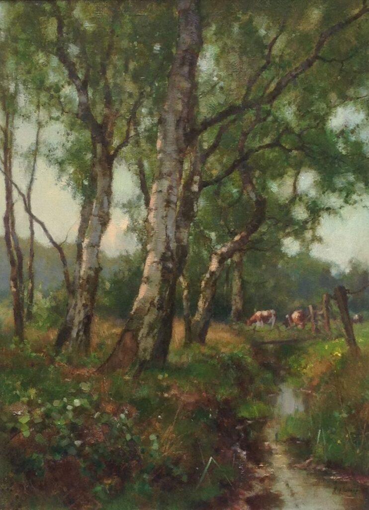 Kunstenaar Jan Holtrop C1352, Jan Holtrop Landschap met Koeien particuliere collectie