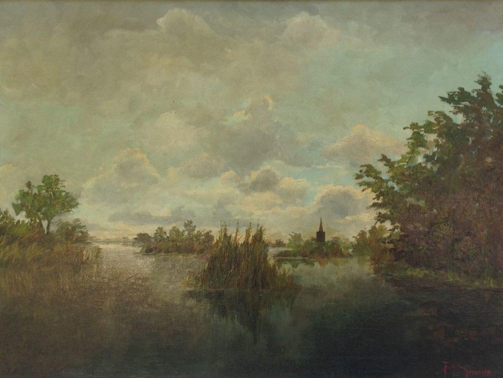 Schilderijen te koop, kunstschilder F.A. Simons Zicht op Kortenhoef Olie op doek, 73 x 93 cm rechtsonder gesigneerd, expositie Galerie Wijdemeren Breukeleveen