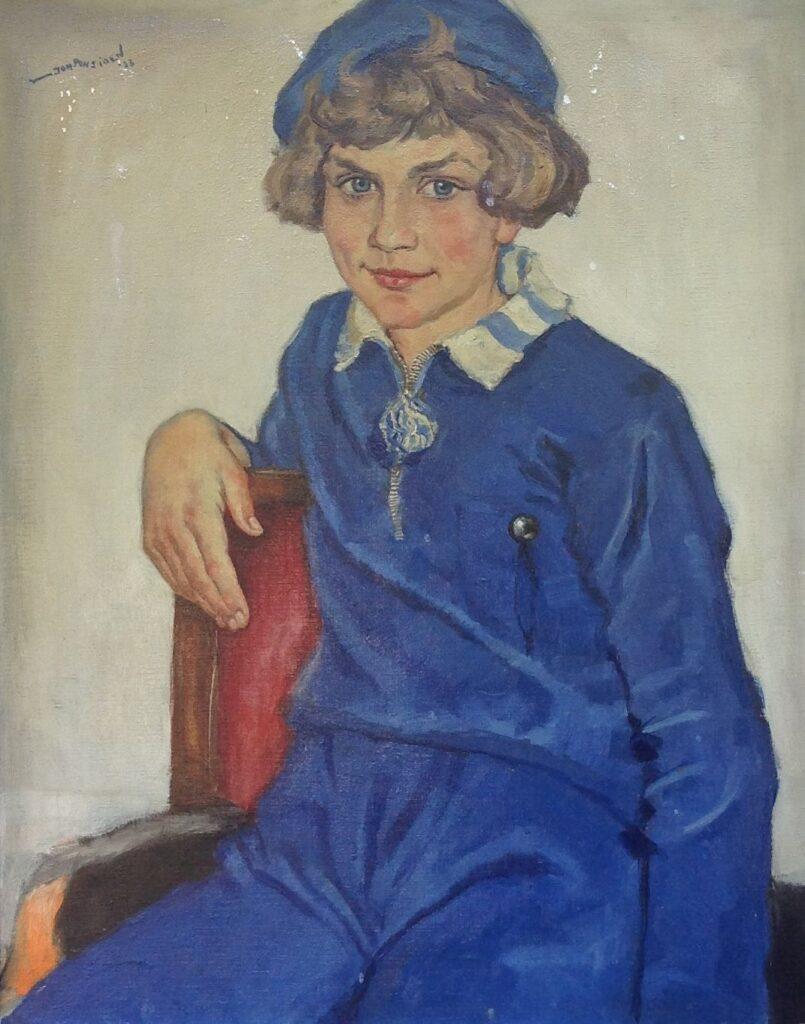 Schilderijen te koop van kunstschilder Johan Ponsioen Portret van een meisje olie op doek, doekmaat 70.5 x 55.5 cm linksboven gesigneerd, Expositie Galerie Wijdemeren Breukeleveen