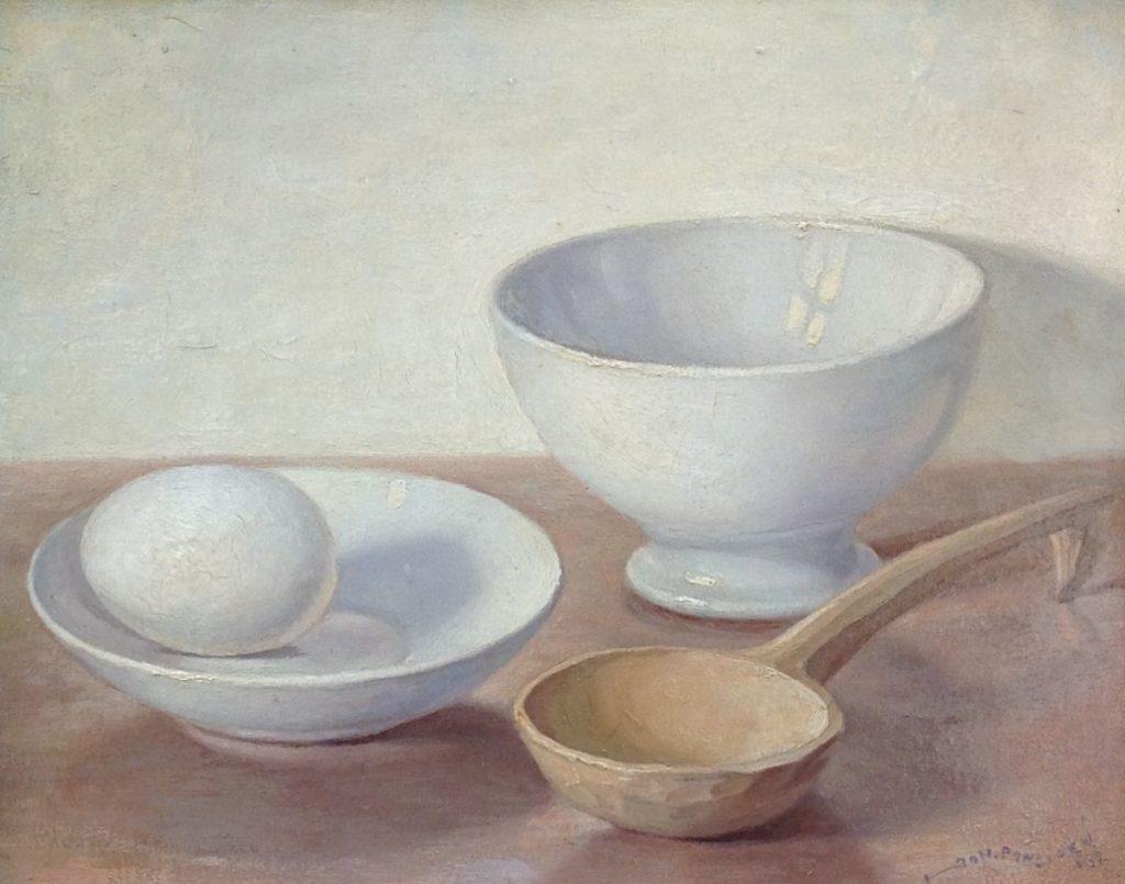 Schilderijen te koop van kunstschilder Johan Ponsioen Stilleven met ei olie op board, 29 x 36 cm rechtsonder gesigneerd, Expositie Galerie Wijdemeren Breukeleveen