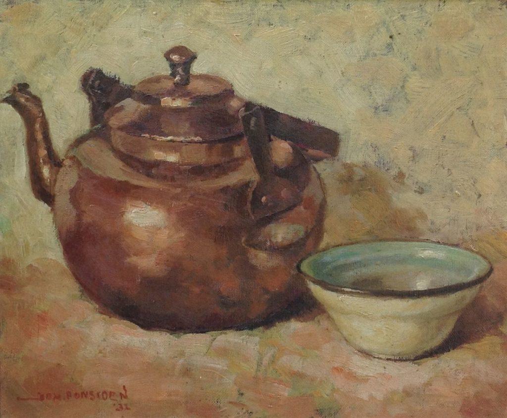 Schilderijen te koop van kunstschilderJohan Ponsioen Stilleven met koperen ketel marouflé, 28 x 33 cm linksonder gesigneerd, Expositie Galerie Wijdemeren Breukeleveen