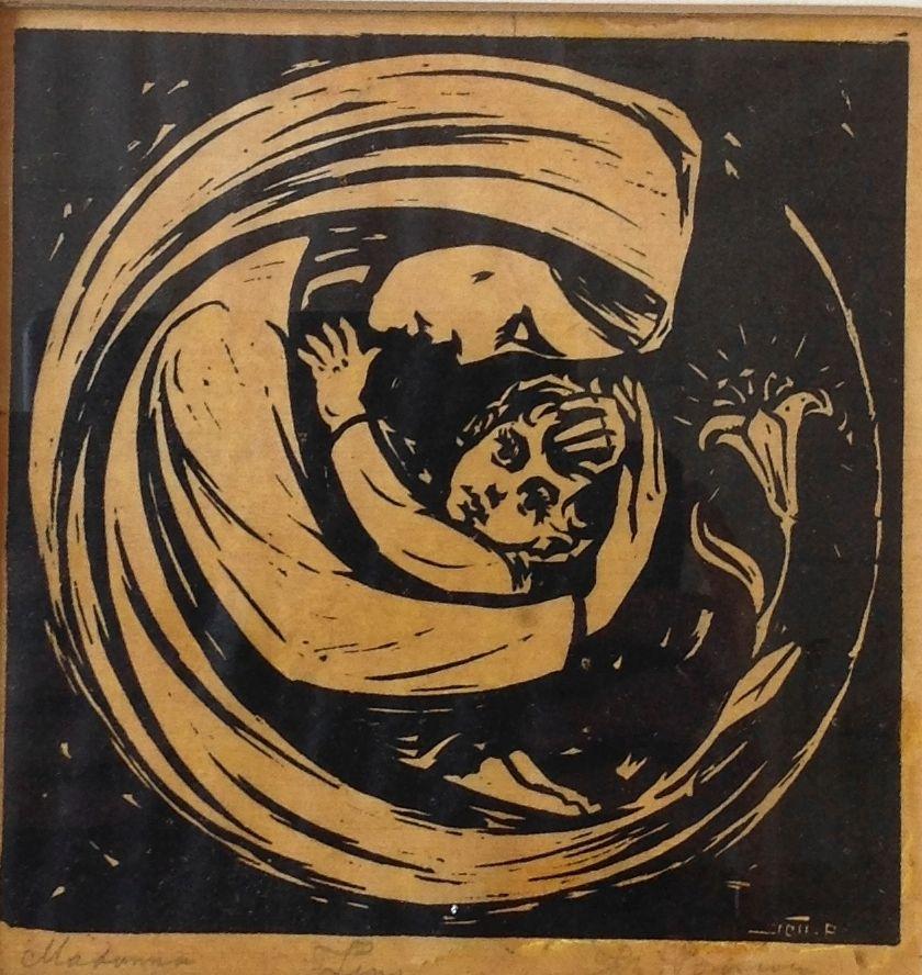 Schilderijen te koop van kunstschilder Johan Ponsioen Madonna linosnede, beeldmaat 16 x 16 cm linksonder gesigneerd, Expositie Galerie Wijdemeren Breukeleveen