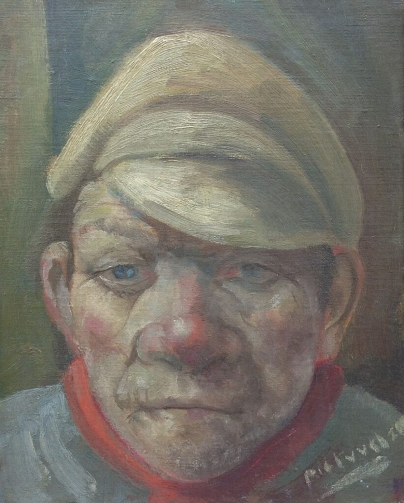 C1433 Pieter van Velzen Portret van een man olie op board, gesigneerd r.o., schilderijen te koop, kunst te koop, exposities, galerie wijdemeren breukeleveen