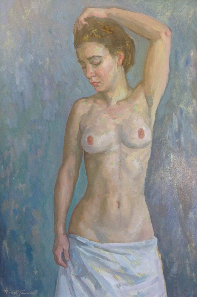 Kunst te koop bij Galerie Wijdemeren van kunstschilder Ronald Terpstra naaktmodel olie op board, 56 x 39 cm linksonder gesigneerd