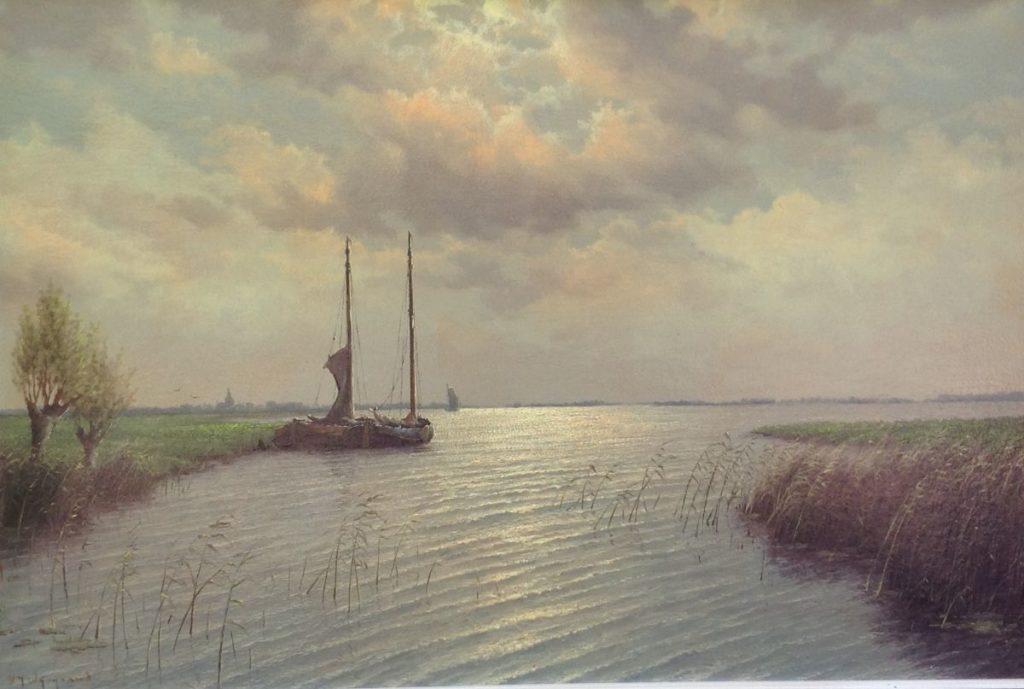 Schilderijen te koop van kunstschilder HJ van Wijngaard Zicht op de Lek olie op doek, doekmaat 60 x 90 cm linksonder gesigneerd, Expositie Galerie Wijdemeren Breukeleveen