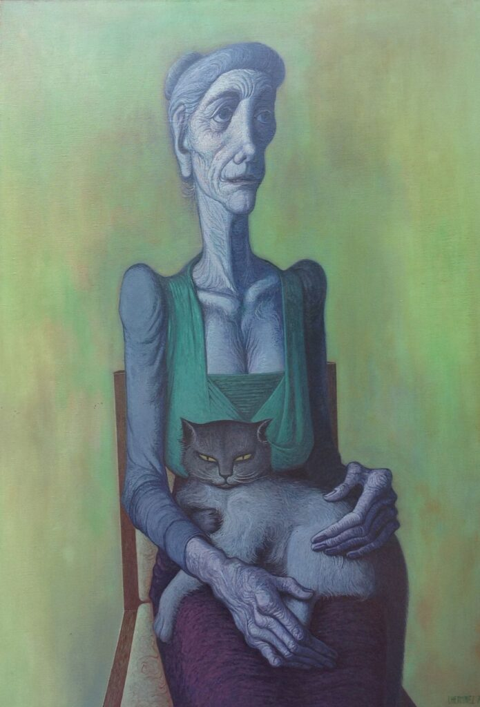 Kunstenaar Theo l Herminez C1507, Theo l'Herminez 'Vrouw met kat', gedateerd 1971 Olie op doek Beeldmaat: 130 x 99,5 cm Rechtsonder gesigneerd Verkocht