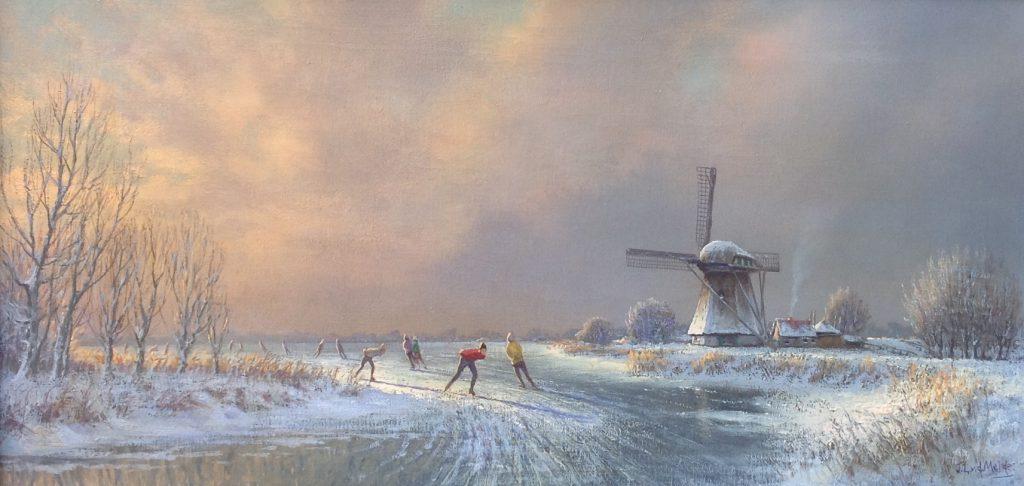 Schilderijen te koop van kunstschilder J.L. van der Meide IJsgezicht met schaatsers olie op doek, gesigneerd, Expositie Galerie Wijdemeren Breukeleveen