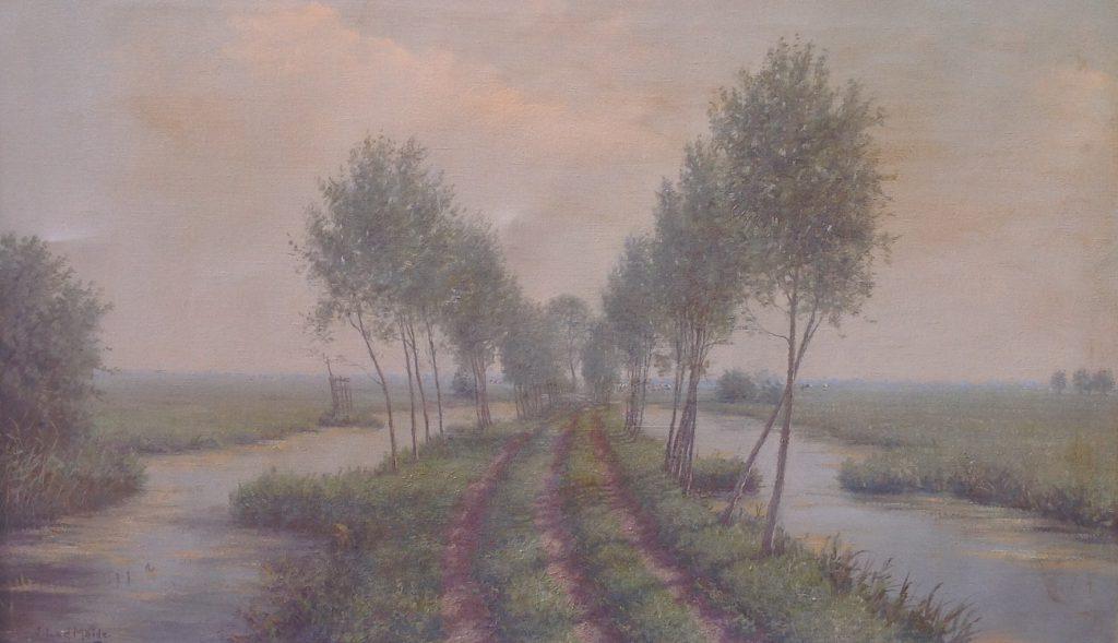 Schilderijen te koop van kunstschilder J.L. van der Meide De Krimpenerwaard richting Berkenwoude olie op doek, 59 x 99 cm linksonder gesigneerd, Expositie Galerie Wijdemeren Breukeleveen