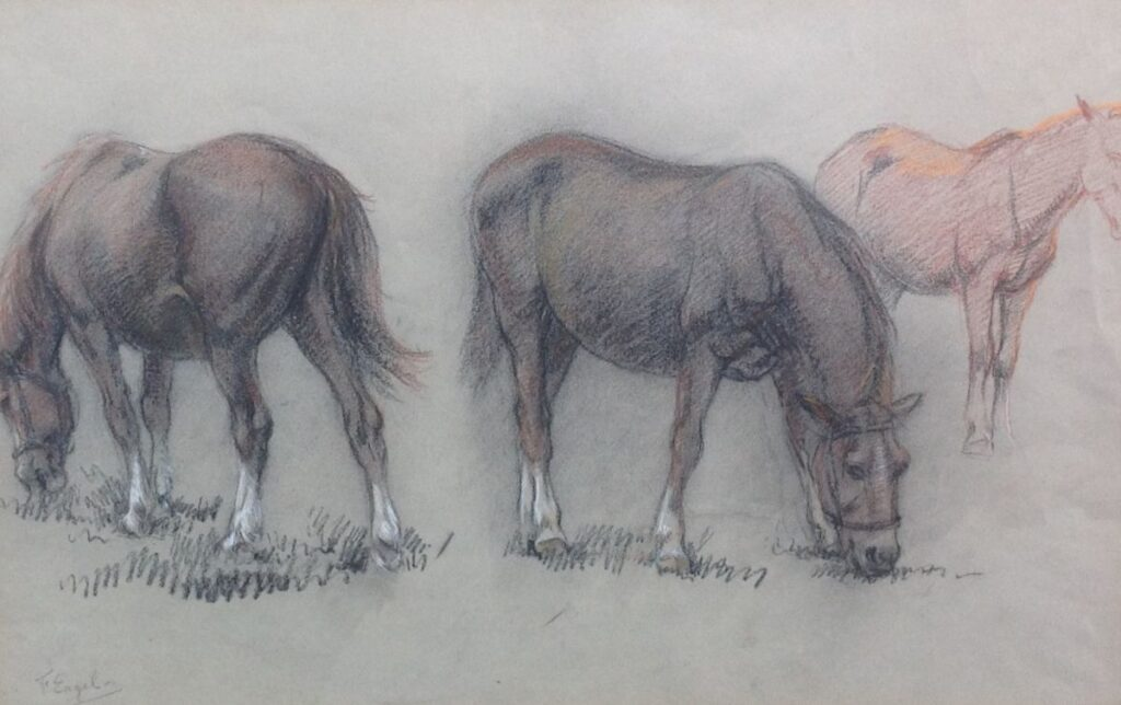 Kunstenaar Frederik Engel C152, Frederik Engel, 'Paarden' Krijttekening Beeldmaat: 31,5 cm x 47 cm Linksonder gesigneerd