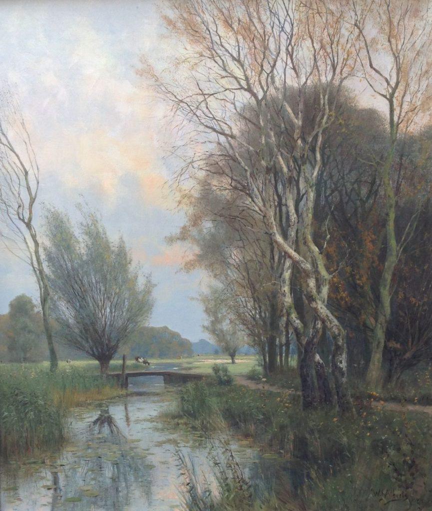 Kunst te koop bij Galerie Wijdemeren, W.J. Alberts Ommen, Langs de bosrand olie op doek, 70 x 60.5 cm rechtsonder gesigneerd