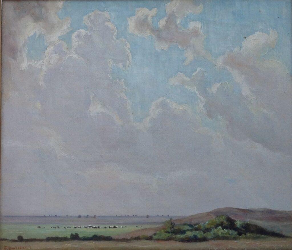Schilderijen te koop van kunstschilder Frans Smisseart Koeien in een weids landschap Olie op doek, 39 cm x 45.5 cm linksonder gesigneerd F.Smissaert, Expositie Galerie Wijdemeren Breukeleveen