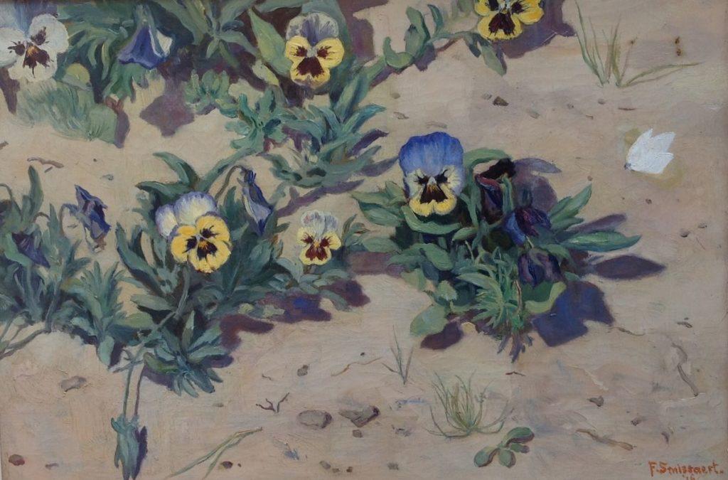 Kunstenaar Frans Smissaert C1557 Frans Smissaert wilde viooltjes olie op doek, doekmaat 33 x 47 cm r.o. gesigneerd en gedateerd 16