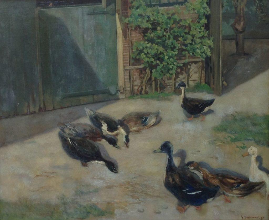 Schilderijen te koop van kunstschilder Frans Smissaert Eenden rond voederbak olie op doek, gesigneerd, Expositie Galerie Wijdemeren Breukeleveen