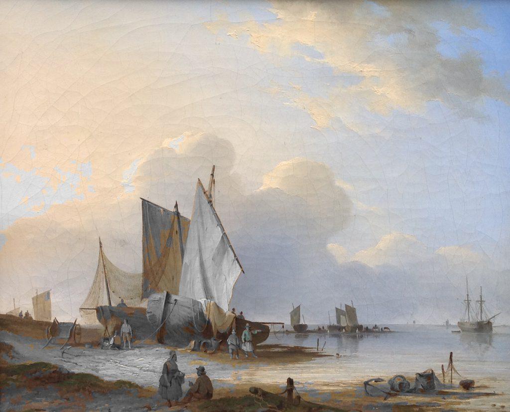 Kunstenaar Johannes Hilverdink C1559, Johannes Hilverdink boten aan de kust olie op doek, 41 x 51 cm linksonder gesigneerd, gedateerd 1842