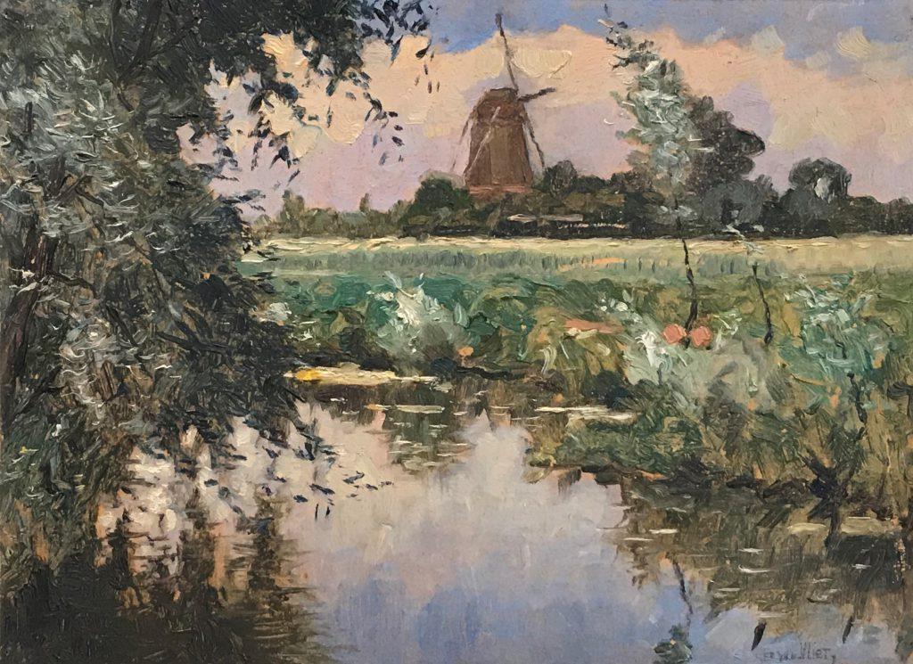 Kunstenaar Gerard van Vliet C15, Ger. van Vliet, 'Boerenlandschap met molen' olie op board, 35 x 25,5 cm, r.o. gesigneerd