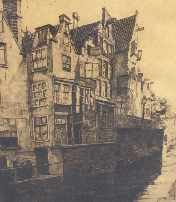 Kunst te koop bij Galerie Wijdemeren van kunstschilder Henri C. Pieck Herenhuizen aan de gracht ets, 21.5 x 17 cm rechtsonder handgesigneerd