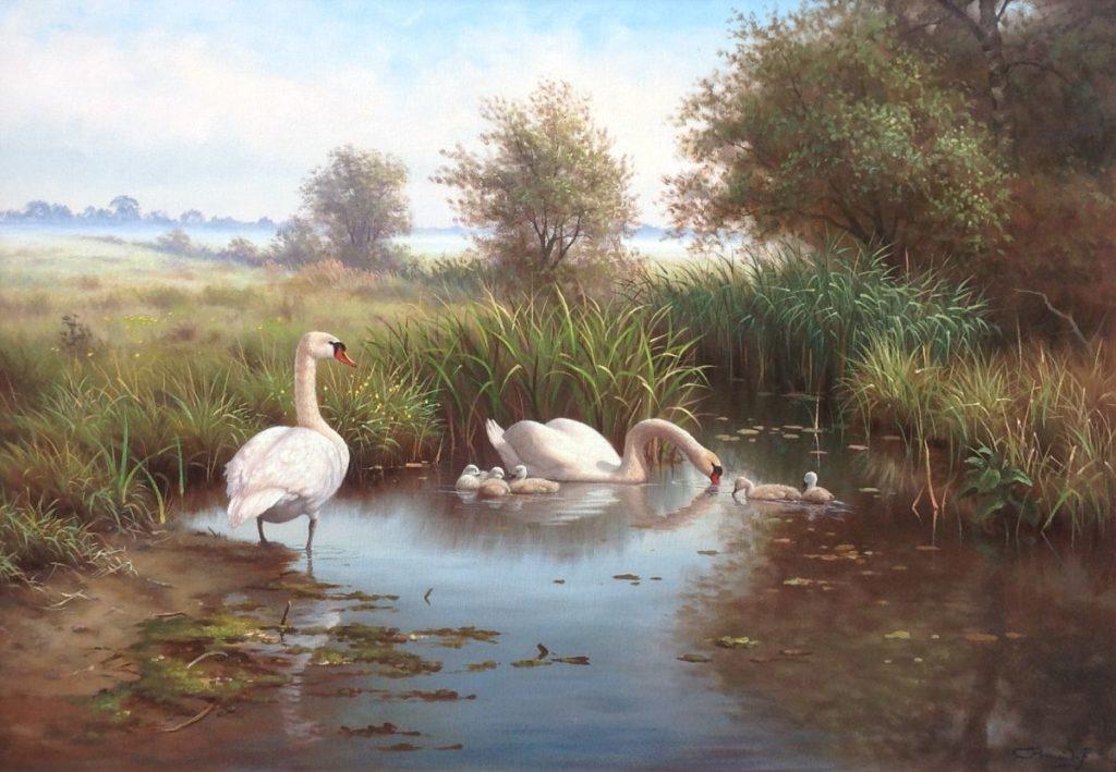 Kunstenaar Ron Meilof C1666 Ron Meilof Zwanenfamilie olie op doek, 70 x 100 cm rechtsonder gesigneerd verkocht