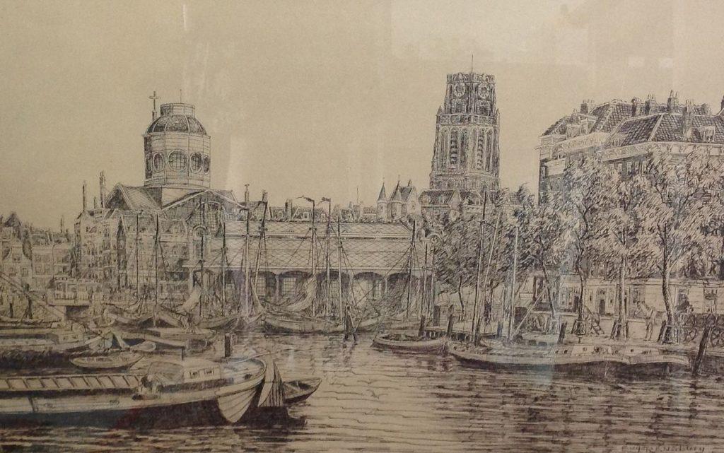 Kunst te koop bij galerie Wijdemeren van kunstenaar Eugène Rensburg Leuvehaven vischmarkt Rotterdam litho, 41 x 63.5 cm rechtsonder handgesigneerd, linksonder gedateerd 1915