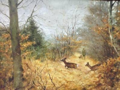 Schilderijen te koop van kunstschilder Rien Poortvliet Bosgezicht met Jager en reeën olie op doek, doekmaat 60 x 80 cm rechtsonder gesigneerd particuliere collectie, Expositie Galerie Wijdemeren Breukeleveen
