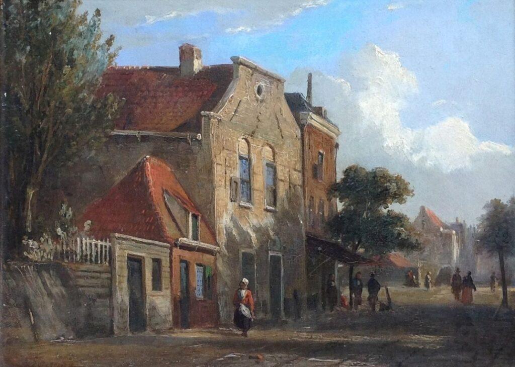schilderijen te koop van kunstschilder, Adrianus Eversen Dorpsstraatje Olie op paneel, paneelmaat 16,5 cm x 22,5 cm Linksonder gesigneerd, expositie, galerie wijdemeren breukeleveen
