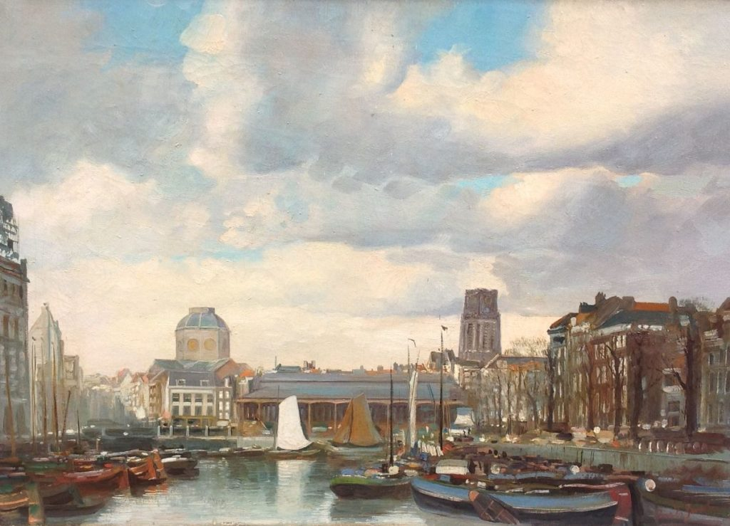 Schilderijen te koop van kunstschilder Cornelis 'Cor' van der Zwalm (1894-1955) Gezicht op de Leuvehaven te Rotterdam Olieverf op doek, doekmaat 50.5 x 70 cm, Expositie Galerie Wijdemeren Breukeleveen
