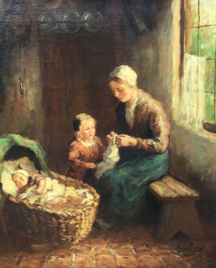 Schilderijen te koop van kunstschilder Andries van den Berg Interieurstuk met moeder met kinderen, Expositie Galerie Wijdemeren Breukeleveen