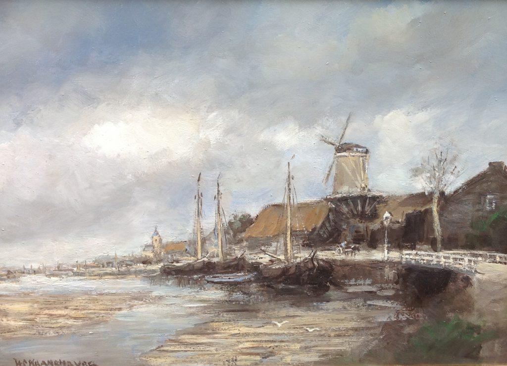 Kunst te koop bij Galerie Wijdemeren van Hendrik Cornelis Kranenburg H.C. Kranenburg Molen langs kade met witte brug olie op doek, 50 x 70 cm linksonder gesigneerd