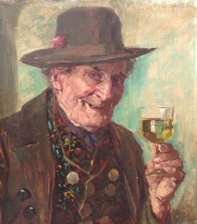 Kunstenaar August Roeseler C1740-3, August Roeseler Man met wijnglas olie op doek, gesigneerd l.b.