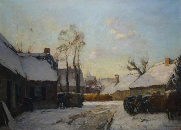 Schilderijen te koop van kunstschilder David Schulman Winter in Laren Olie op doek, 65,5 x 90 cm Rechtsonder gesigneerd, Expositie Galerie Wijdemeren Breukeleveen