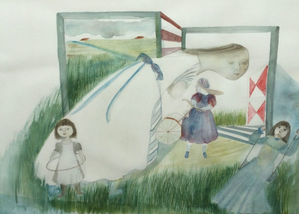 schilderijen te koop van kunstschilder Helene Bueno Mijn eerste fiets aquarel, beeldmaat 62,6 x 72,3 cm, expositie, galerie wijdemeren breukeleveen