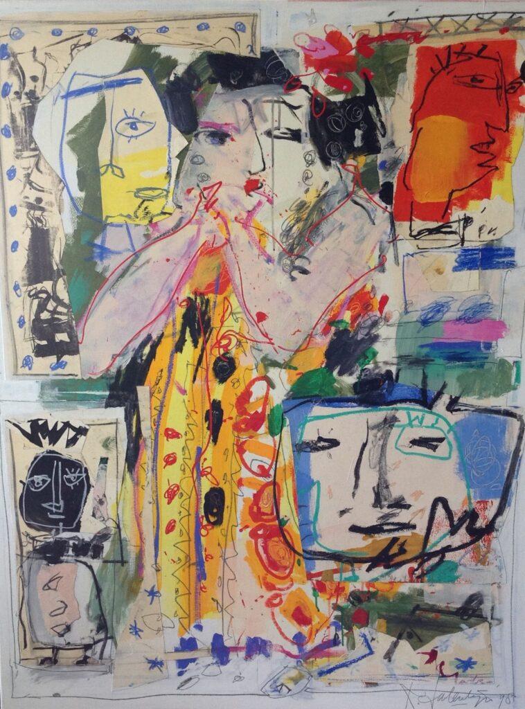 Schilderijen te koop van kunstschilder Kees Salentijn portret dame olie op doek, doekmaat 130 x 100 cm rechtsonder gesigneerd, Expositie Galerie Wijdemeren Breukeleveen