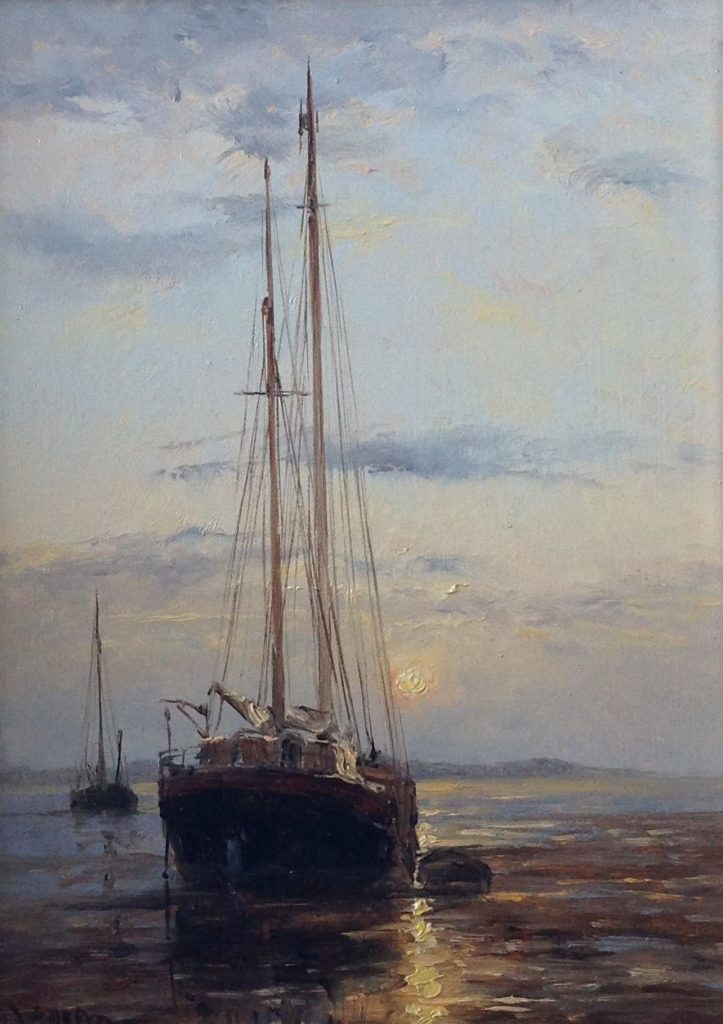 Kunstenaar Frits J. Goosen C1848, F.J. Goosen Bootjes bij zonsondergang olie op paneel, 23,5 x 18 cm l.o. gesigneerd particuliere collectie