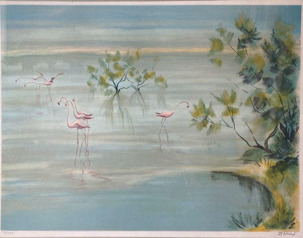 Kunst te koop bij Galerie Wijdemeren van kunstschilder Zarou Flamingo's in landschap litho, 48 x 60 cm rechtsonder gesigneerd, linksonder oplage 153/250