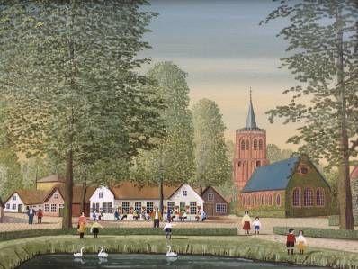 Schilderijen te koop van kunstschilder Jaap ter Haar Laren olie op doek, 45,5 x 35,2 cm r.o. gesigneerd, Expositie Galerie Wijdemeren Breukeleveen