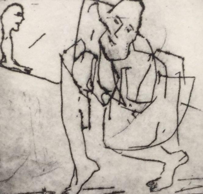 Kunst te koop bij Galerie Wijdemeren van Anna Reinders Figuren ets, 6 x 6 cm rechtsonder handgesigneerd, oplage 13/50