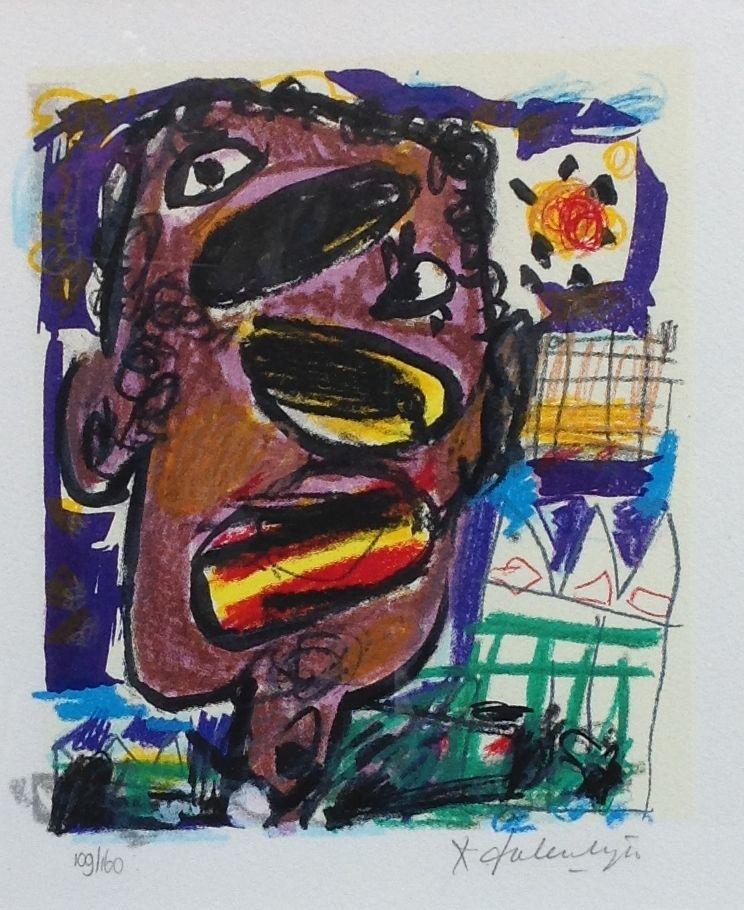 Kunstenaar Kees Salentijn C1888, Kees Salentijn Litho, oplage 109 van 160 Beeldmaat 23 x 19 cm Rechtsonder gesigneerd